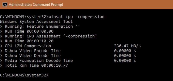 WinSAT cpu -compression