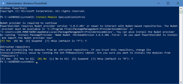 PowerShell - install module speculationcontrol