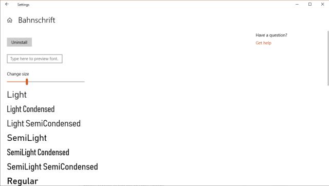 Settings - Fonts - Bahnschrift