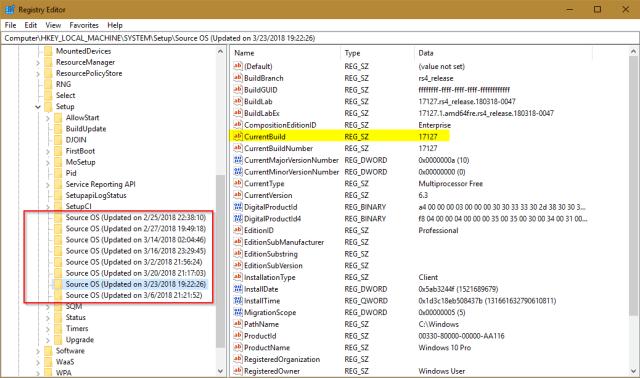 Registry Editor Windows 10 Upgrade History - How To List the History of Windows 10 Upgrades