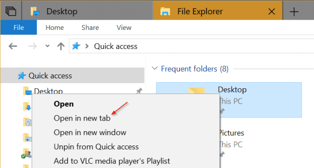 File Explorer tab in context menu - How To Use New Tabs in File Explorer in Windows 10