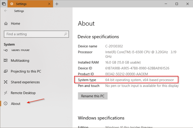 Settings About - How To Tell If A Remote PC has A x64-based or x86 Processor on Windows