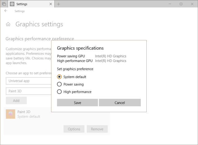Settings System Display Graphic GPU preferences - Windows 10 Tip: How To Set GPU Preferences Per App