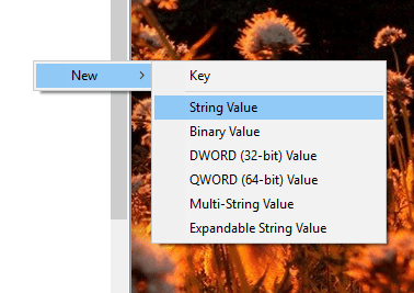 Create a new registry string value