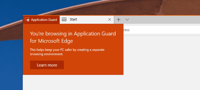 image - Windows 10 Tip: How To Open Application Guard Window in Edge