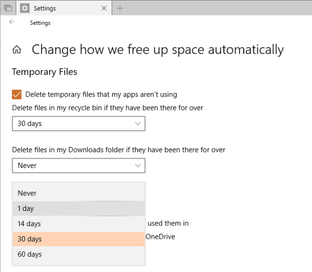 Settings System Storage change how we free up space file on demand - Automatically Make OneDrive Files On-Demand on Windows 10
