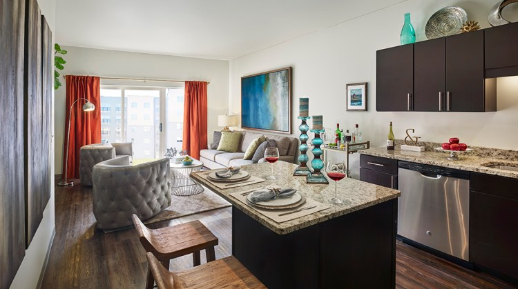 The living room in the model at The Yards.