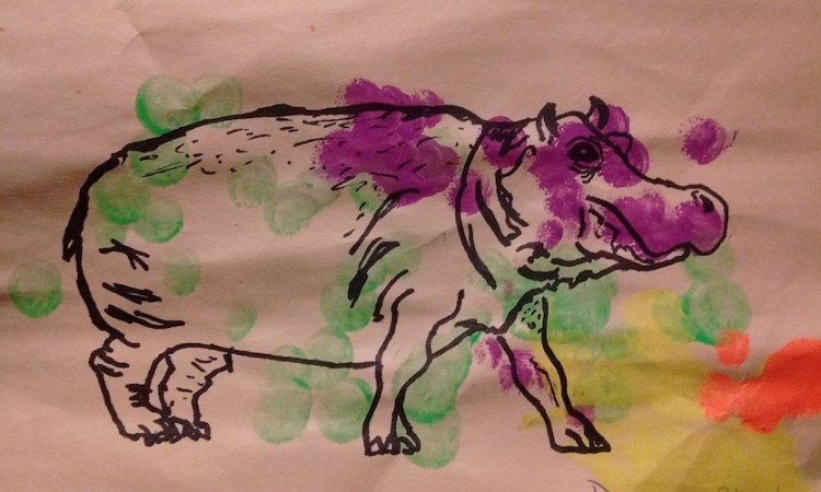 Shower Curtain Art project by Mike Cuccaro. January 22: Hippo on some painted dots.