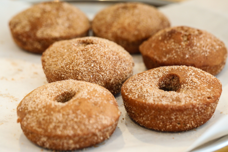 Fresh baked apple cider doughnuts.