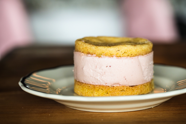 Leona's raspberry ice cream with snickerdoodle cookie. Photo by Tom O'Connor.