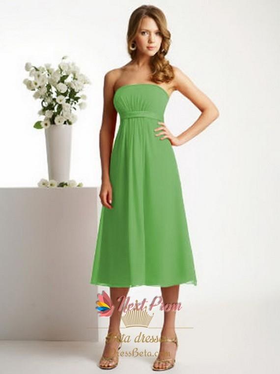 Lime Green Bridesmaid Dresses, Tea Length Chiffon