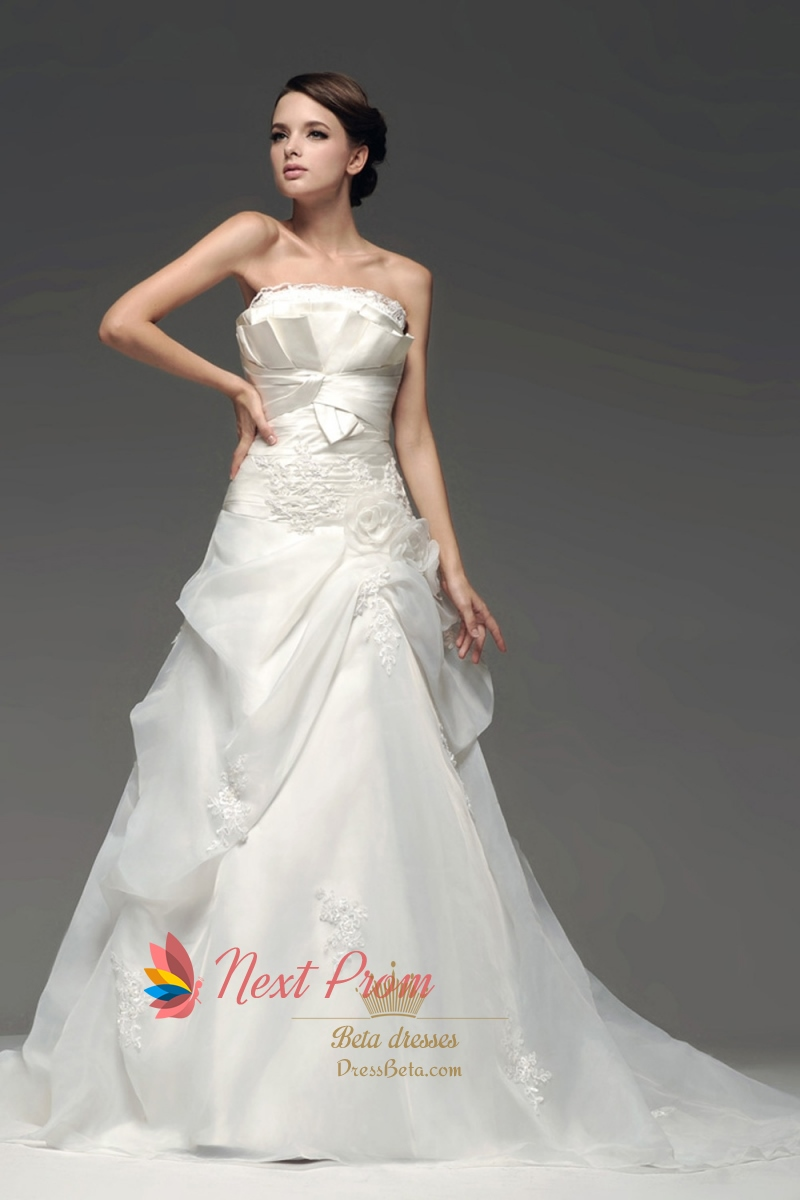 CrumbCatcher Bodice Wedding Dress Organza Drop Waist