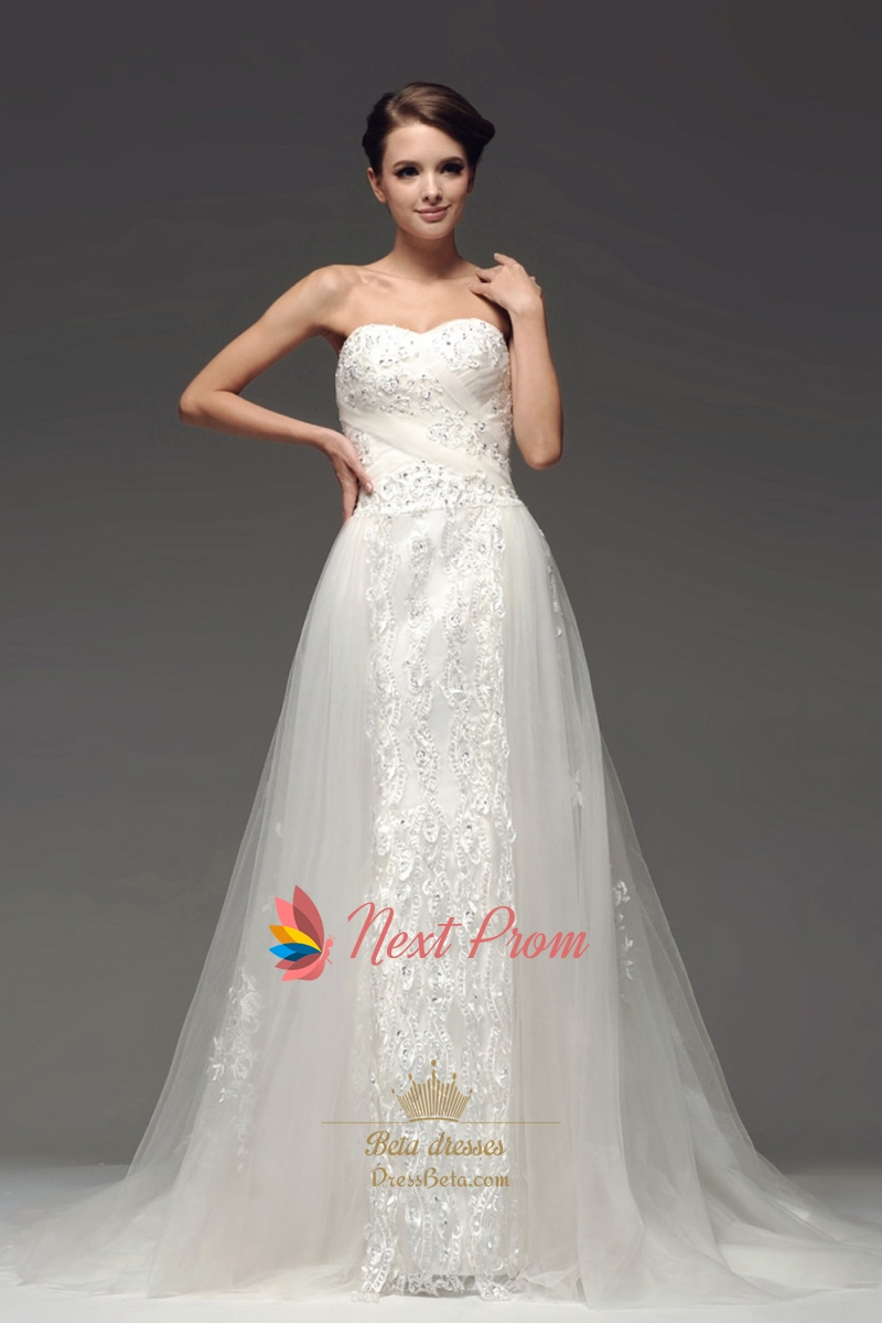 Drop Waist Wedding Dress With Sweetheart Neckline Strapless Mermaid Wedding Dress With Lace