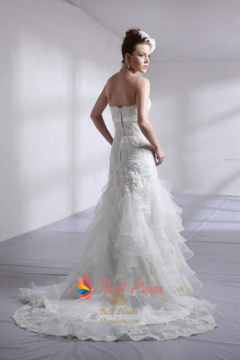 Strapless Lace Wedding Dress With Sash Lace Wedding Dress With Ruffles Simple Elegant