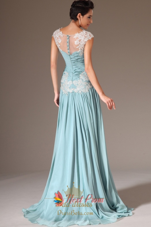 Cap Sleeve Light Blue Casual Prom DressesLight Blue Evening Dresses With Lace Sleeves  Next