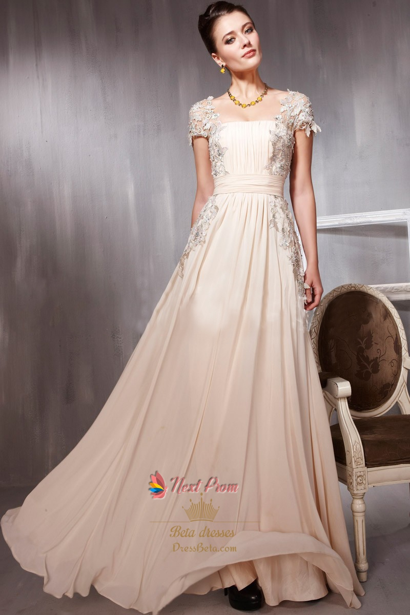 Long Pale Pink Prom Dresses With Lace Cap SleevesPale