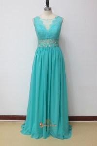 Aqua Blue Prom Dresses With Lace Cap Sleeves,Aqua Blue ...