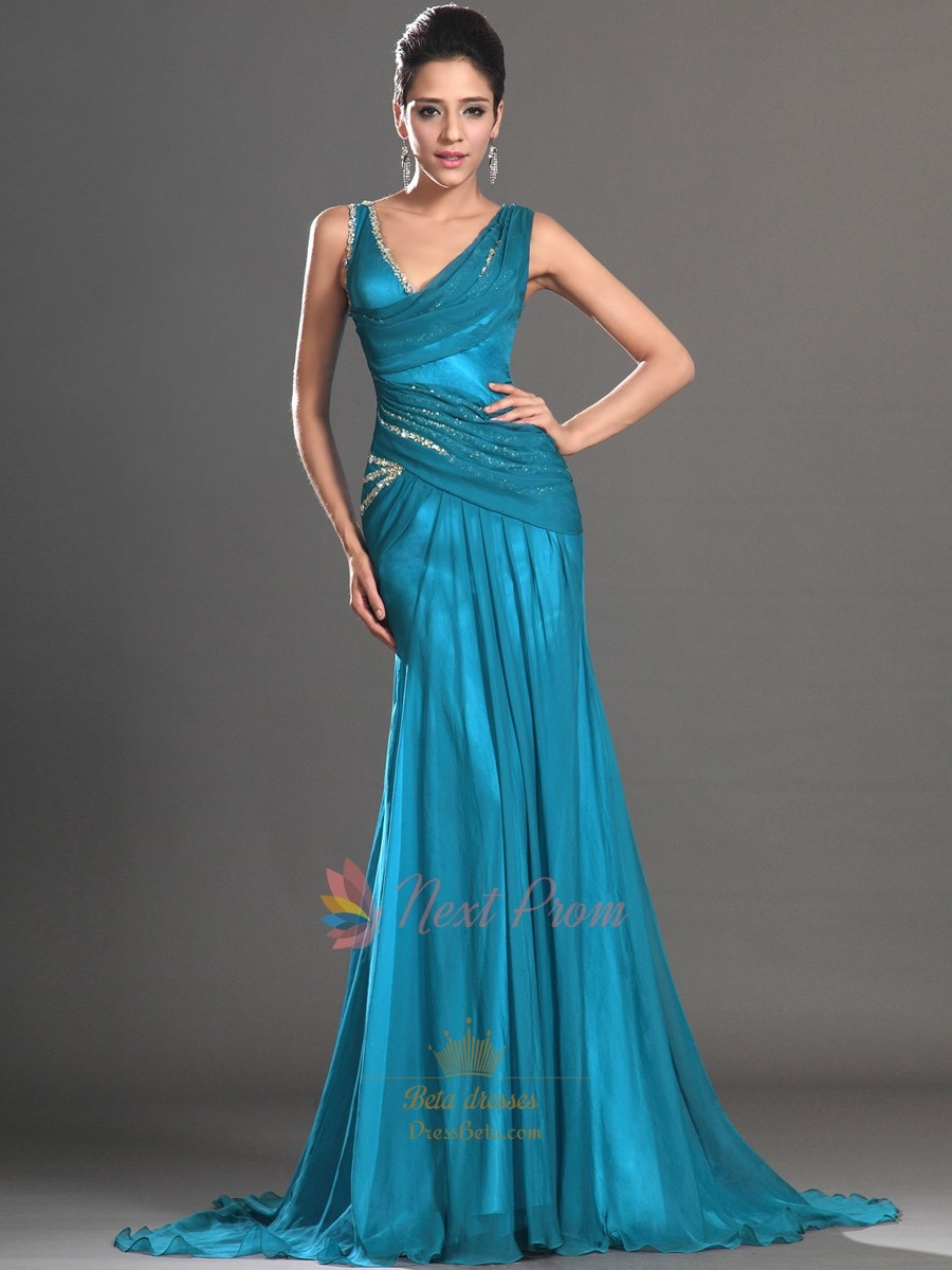 Teal Sequin Mermaid Prom Dress Embellished Chiffon
