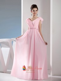 Light Pale Pink Off The Shoulder Long Chiffon Bridesmaid ...