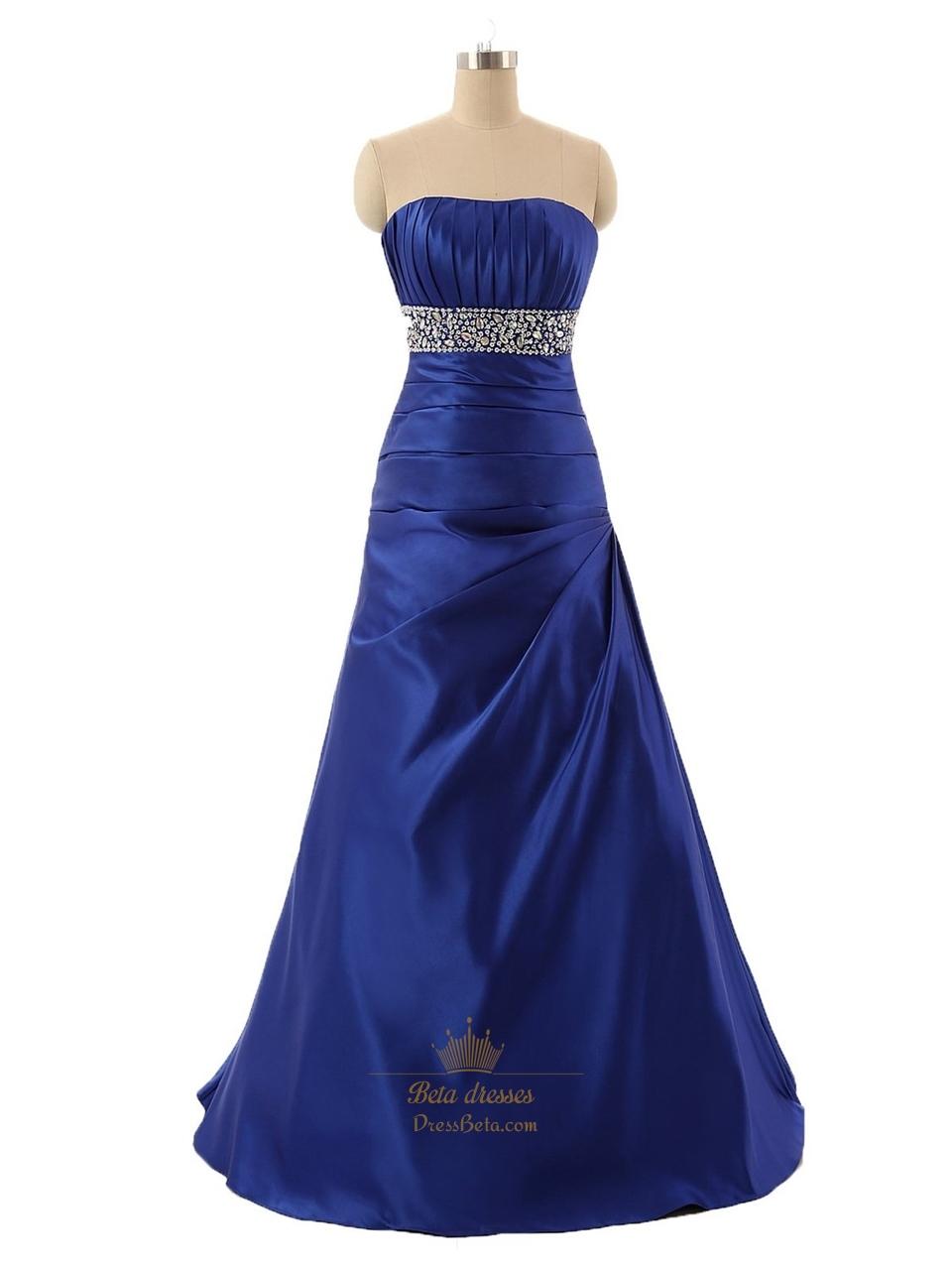 Royal Blue Strapless ALine Sweetheart FloorLength