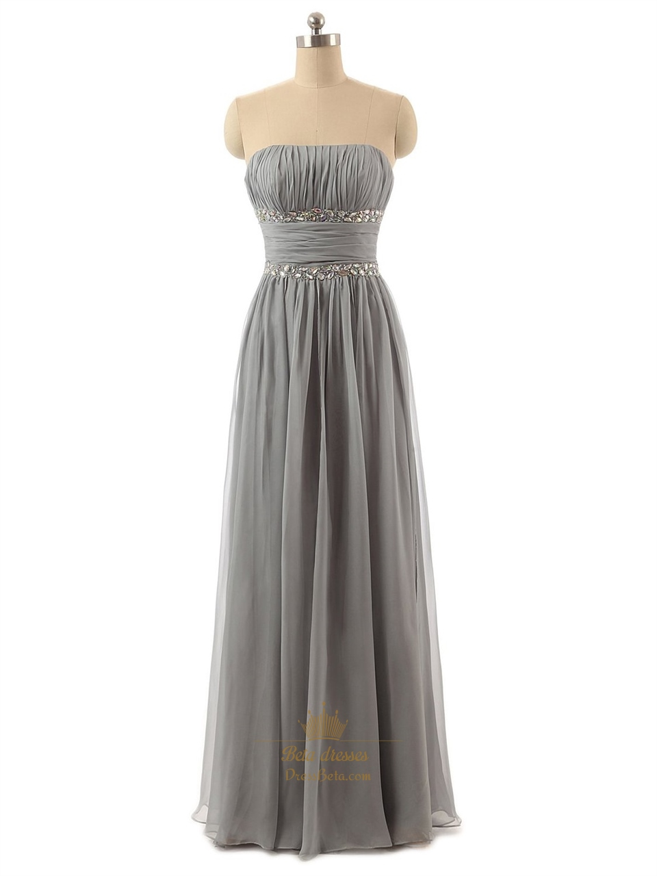 Grey Strapless Chiffon Ruched Bodice Bridesmaid Dress With