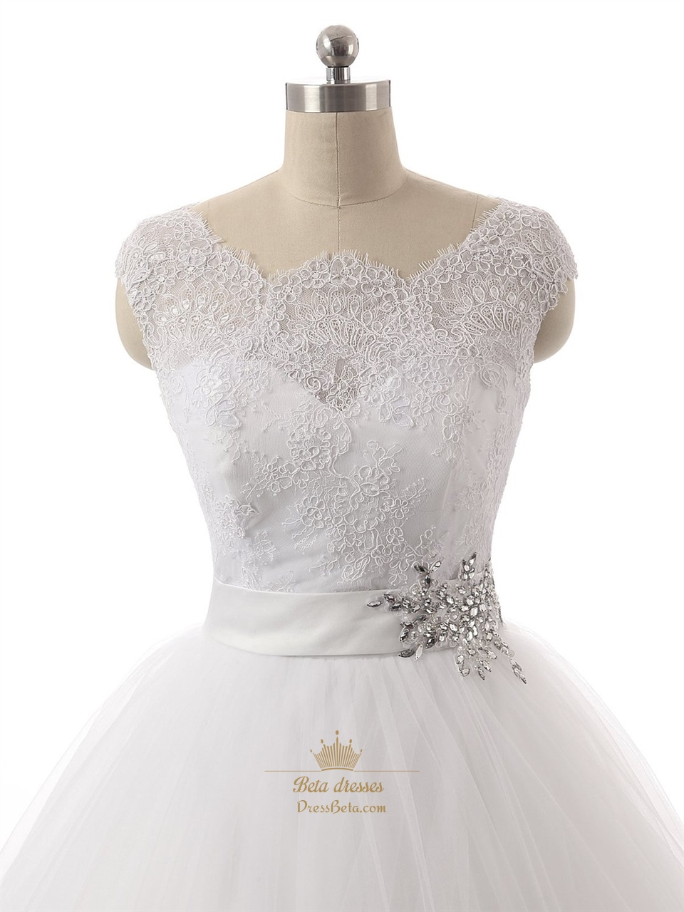 Sheer Lace Bodice Cap Sleeves Ball Gown Wedding Dress With