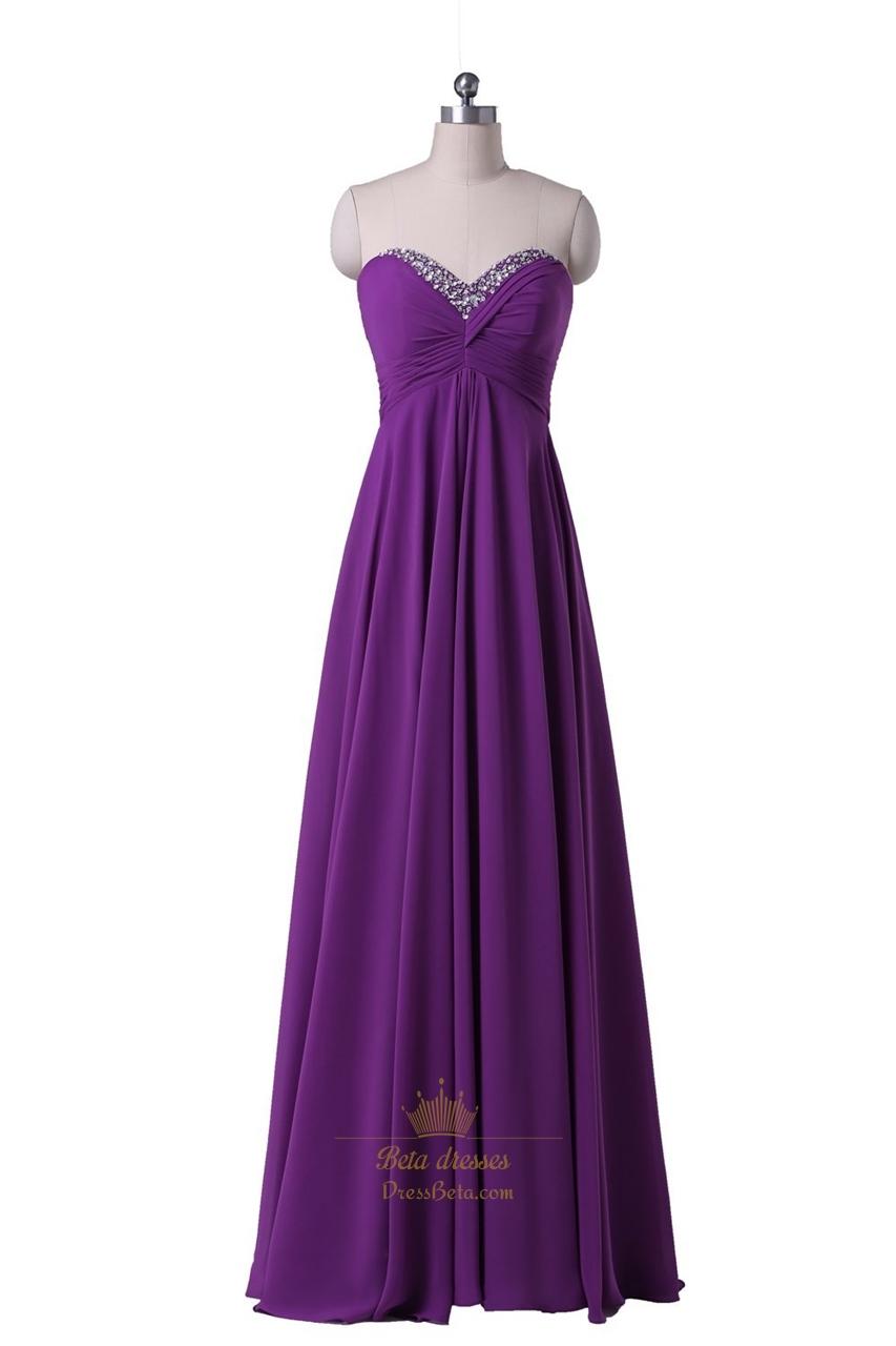 Purple Strapless Beaded Sweetheart Neckline Chiffon Floor Length Prom Dress  Next Prom Dresses