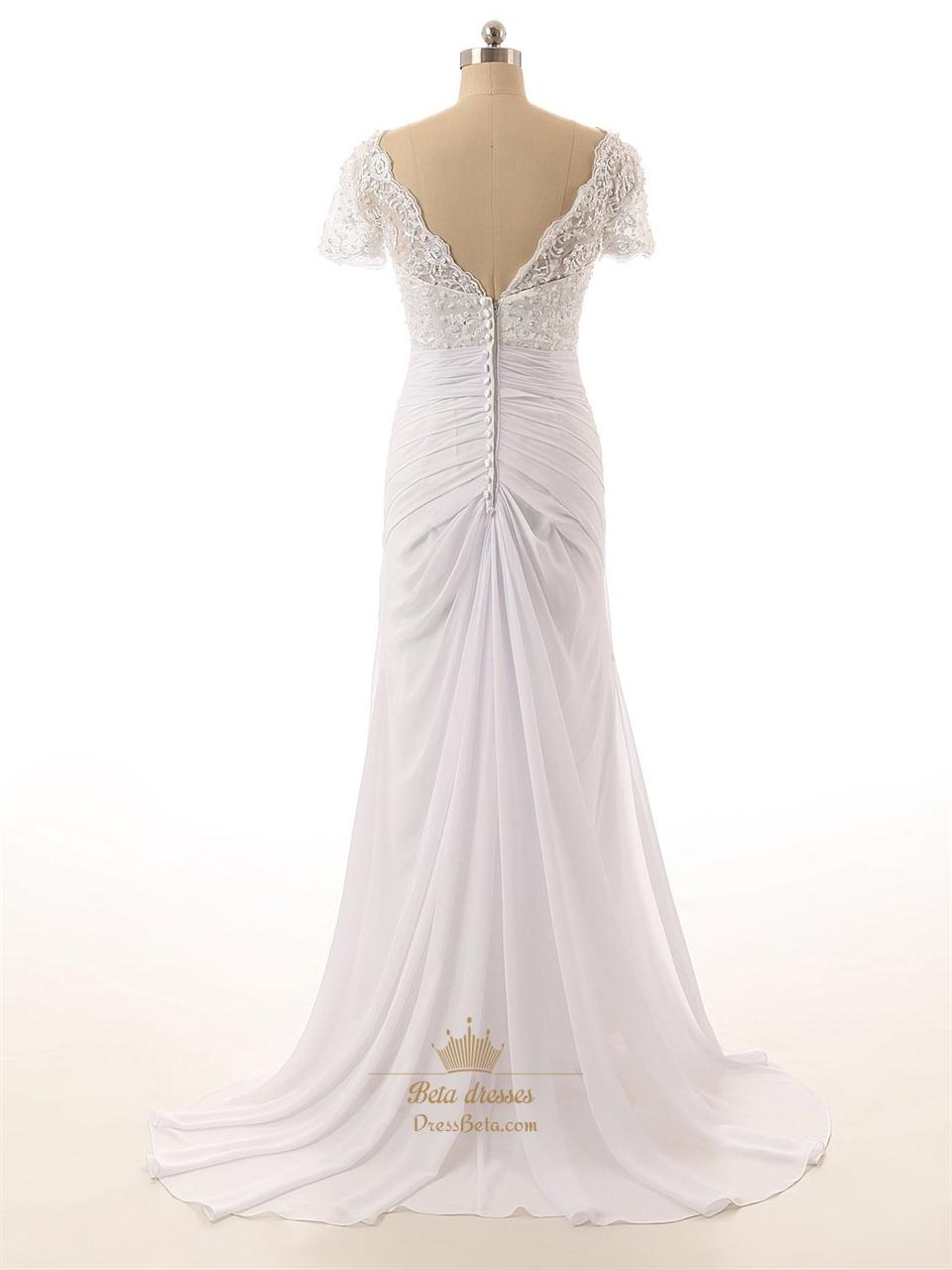 Lace Bodice VNeckline Short Sleeves Wedding Dress With