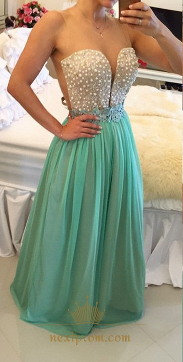 Turquoise Sheer Sleeveless Applique Beaded Bodice Long