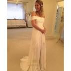 White Off the Shoulder Wedding Dress Split