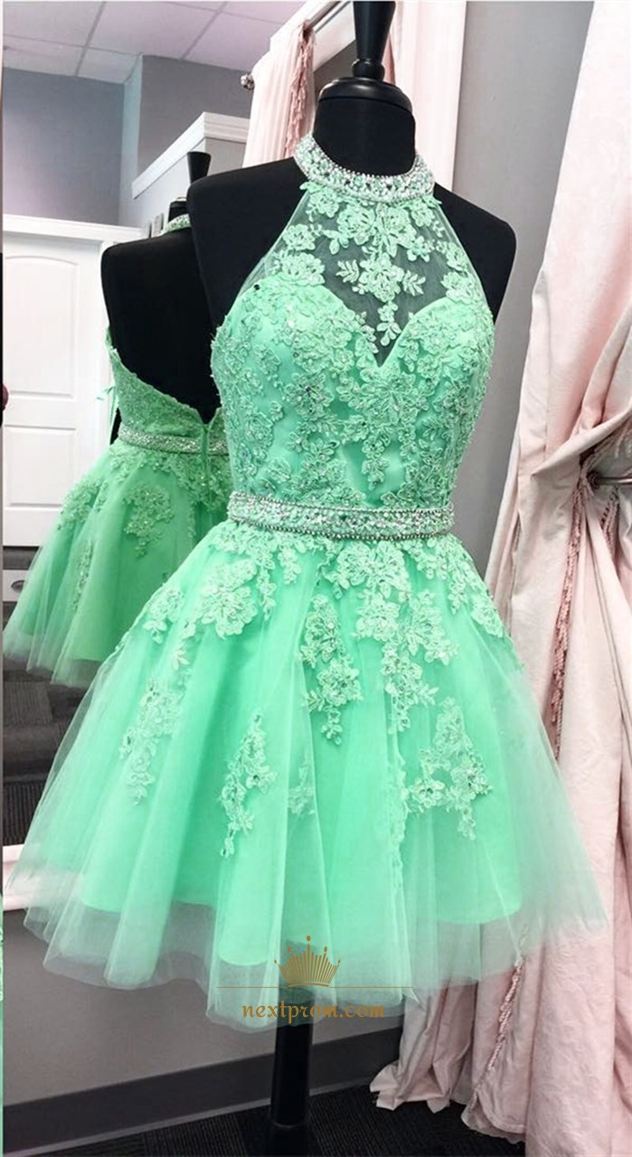 Sleeveless Halter Applique Tulle Short Homecoming Dress With Open Back  Next Prom Dresses