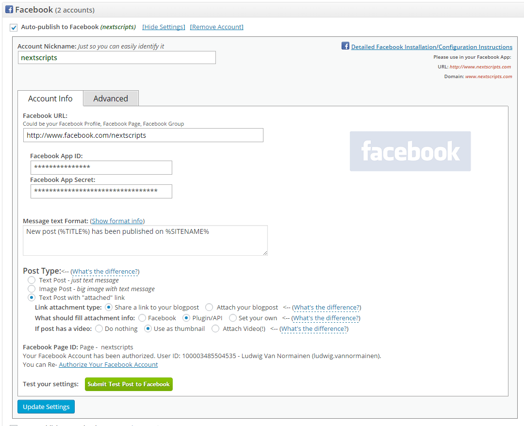 Face book Config