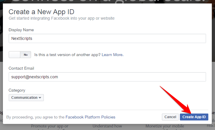 Face book Create New App