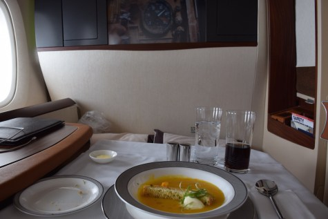 Singapore Airlines A380 Suites - First dish pumpkin soup