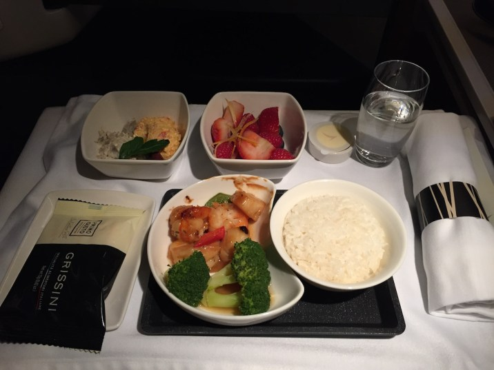 Cathay Pacific Business Class - Dinner trail (scallops and prawns)