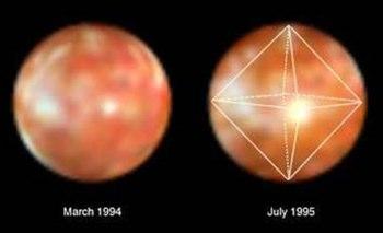 Oktaedrische Geometrie im Helligkeitsanstieg auf Io