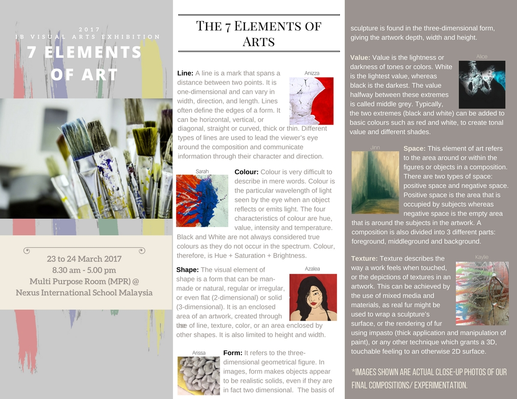 Ib Visual Arts Exhibition 7 Elements Of Art