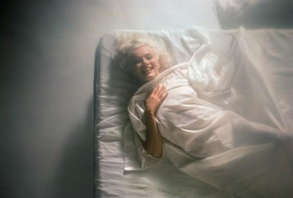 Marilyn Monroe on White Bed