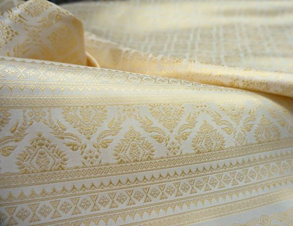 cream gold thai sild damask