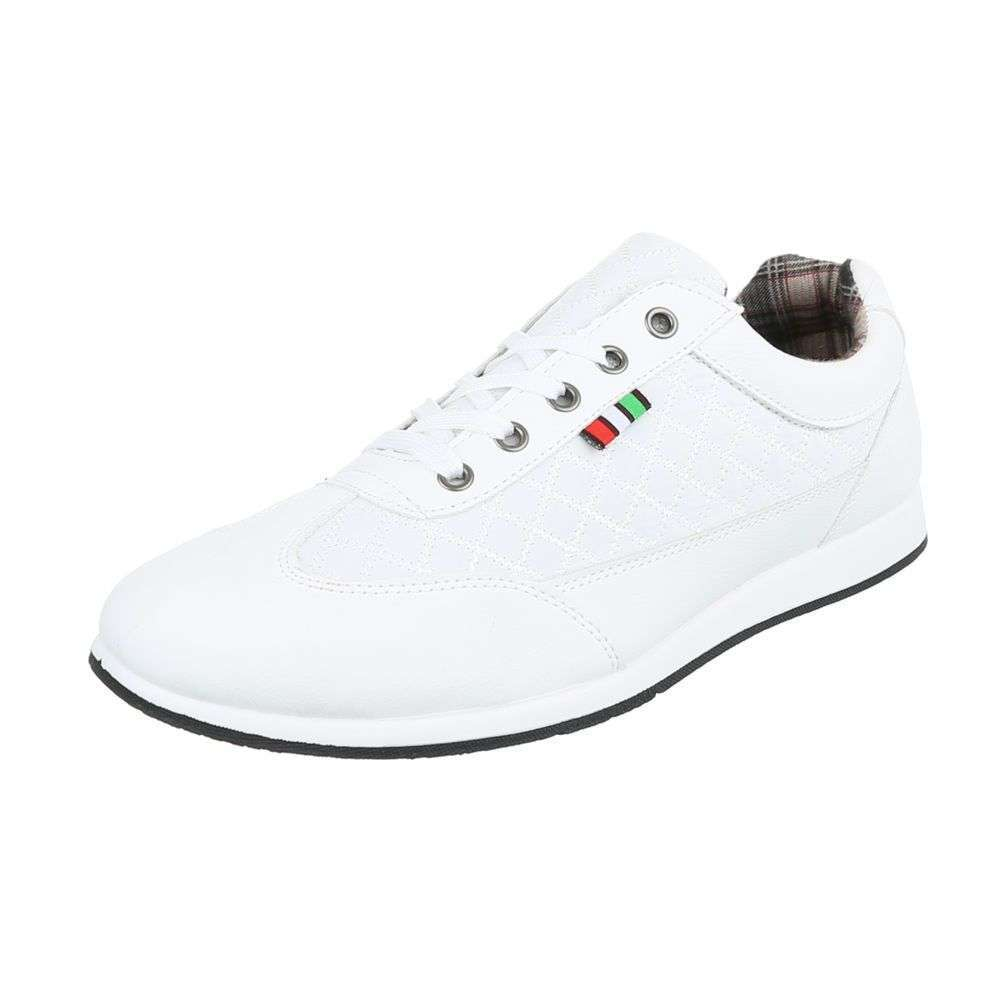Lace-Up White Trainers-Men
