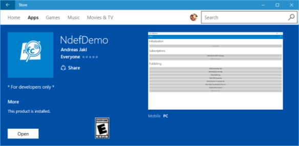 NdefDemo for Windows 10 in the Store