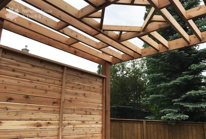 Custom built cedar pergola