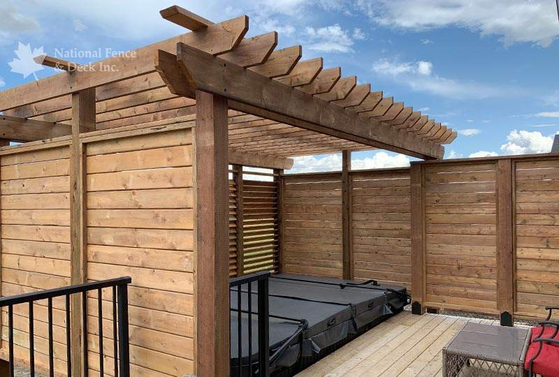 Pressure treated pergola with a classic design