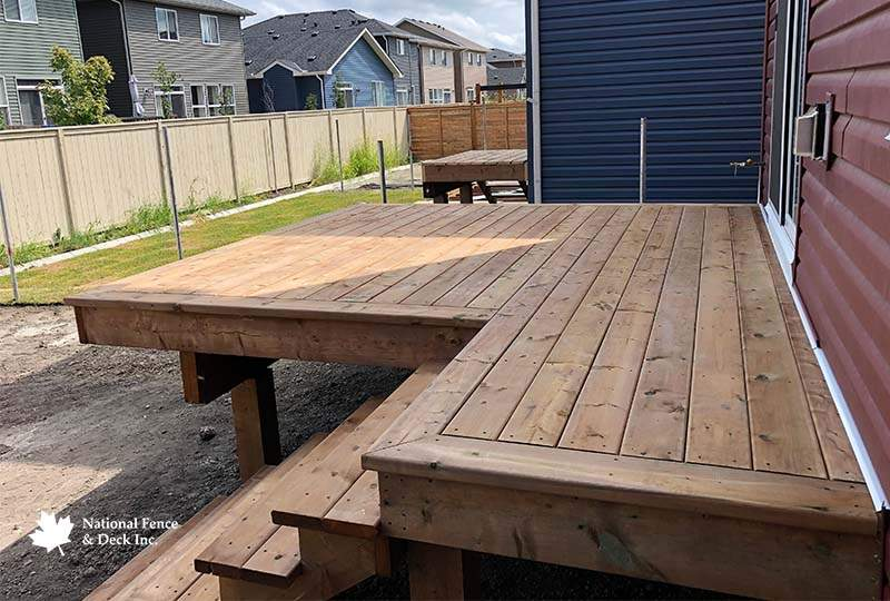 Pressure Treated Deck With Matching Staircase