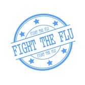 Fight The Flu blue stamp text on blue circle on a white background and star