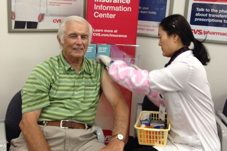 Richard J. Duma getting vaccinated