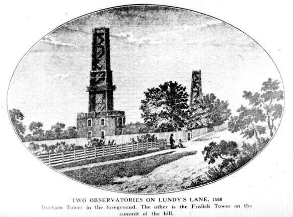 Two observation towers on Lundy's Lane, Durham Tower in