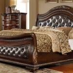 Buy Mcferran B9588 King Sleigh Bed In Oak Veneers Dark Cherry Finish Leather Online