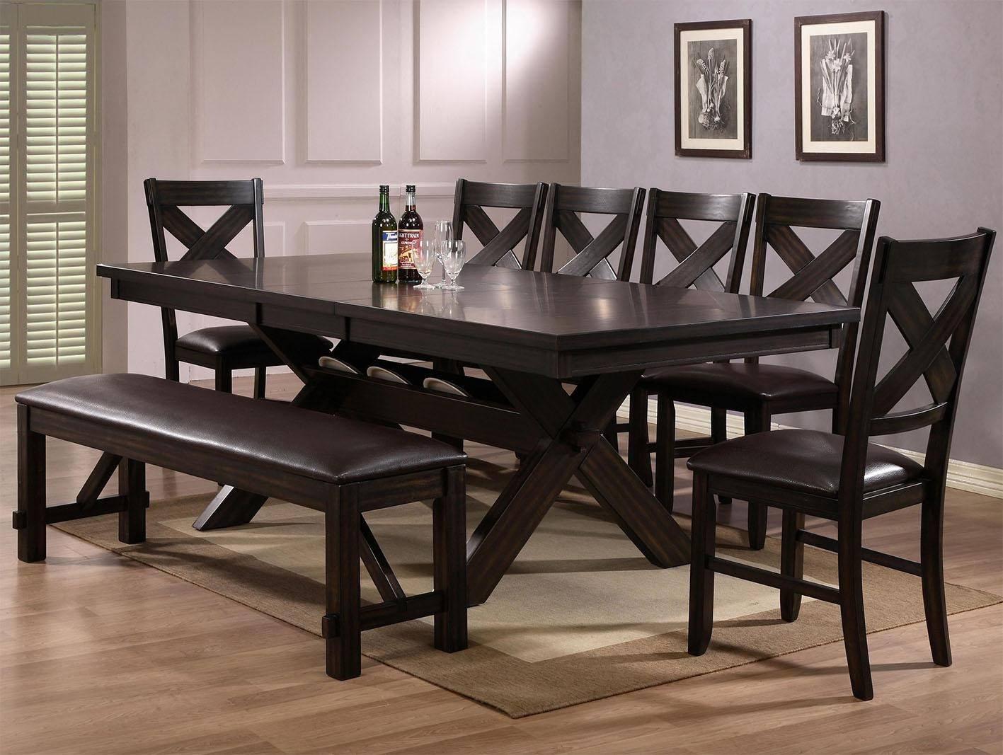 crown mark d2335 havana dining sets 6 pcs in black brown espresso faux leather