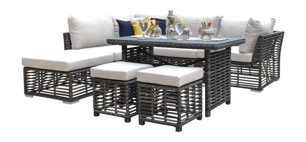panama jack graphite outdoor dining set 8 pcs in beige gray fabric